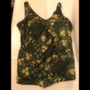Baltex Green Floral One Piece Bathing Suit